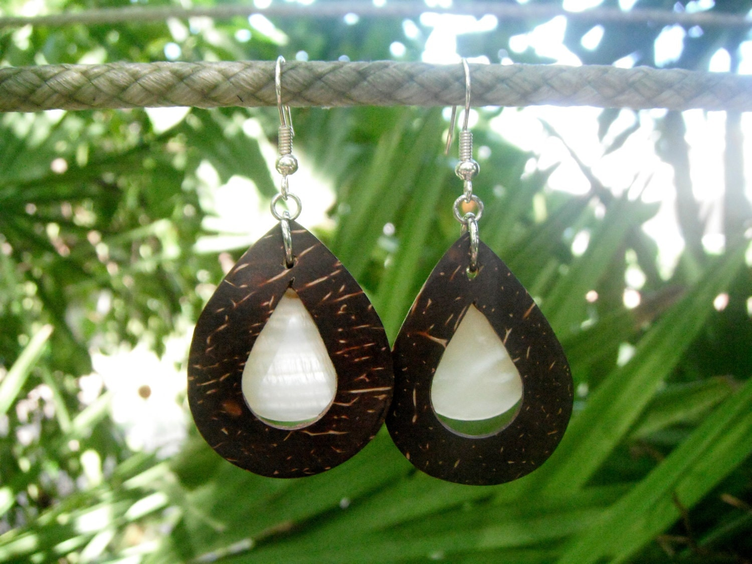 Coconut Earrings with Mother of Pearl Drops