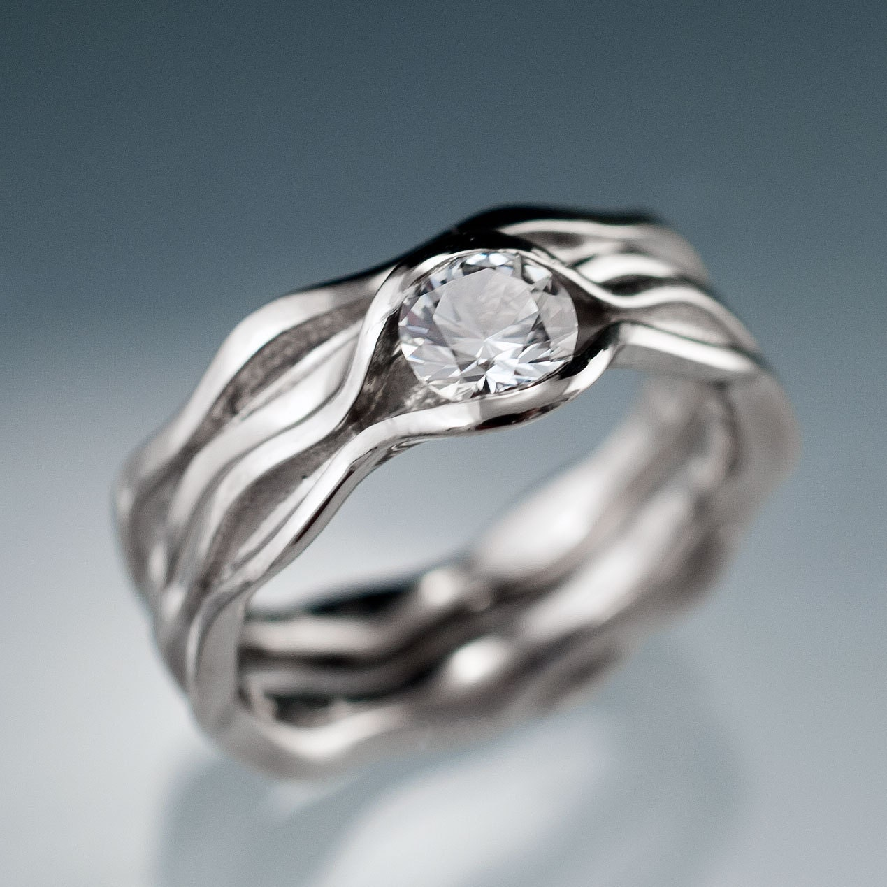 white sapphire wave wedding ring bridal set by
