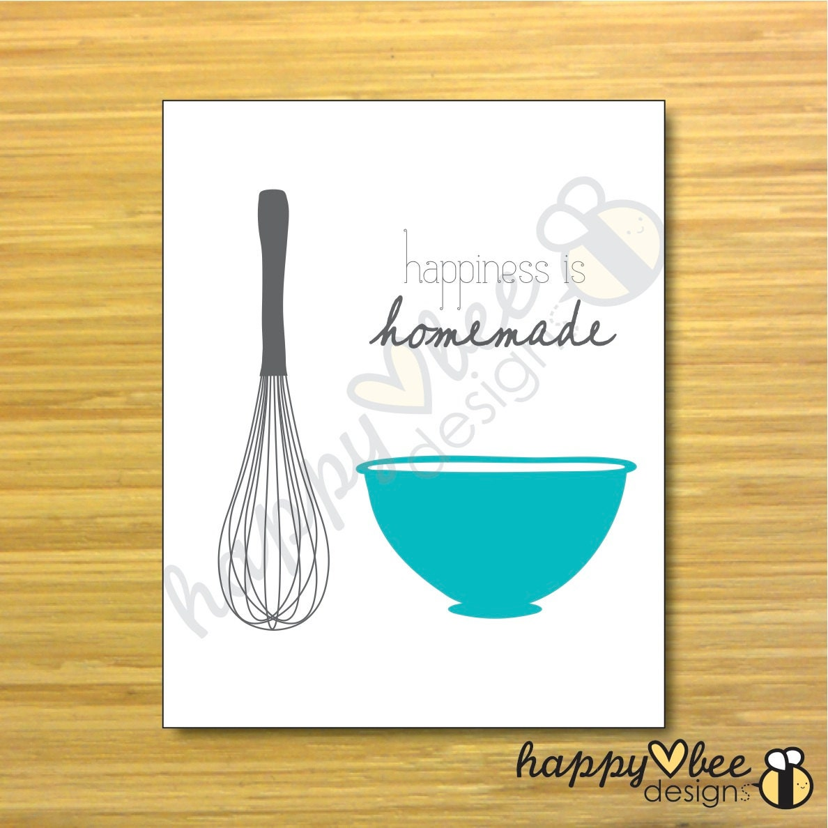Items similar to printable happiness is homemade 8x10 for 8x10 kitchen designs