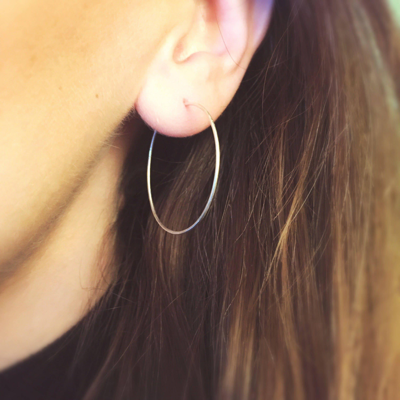 SALE Simple silver hoop earrings sterling silver hoops minimalist earrings silver earrings hoop earrings 35 mm