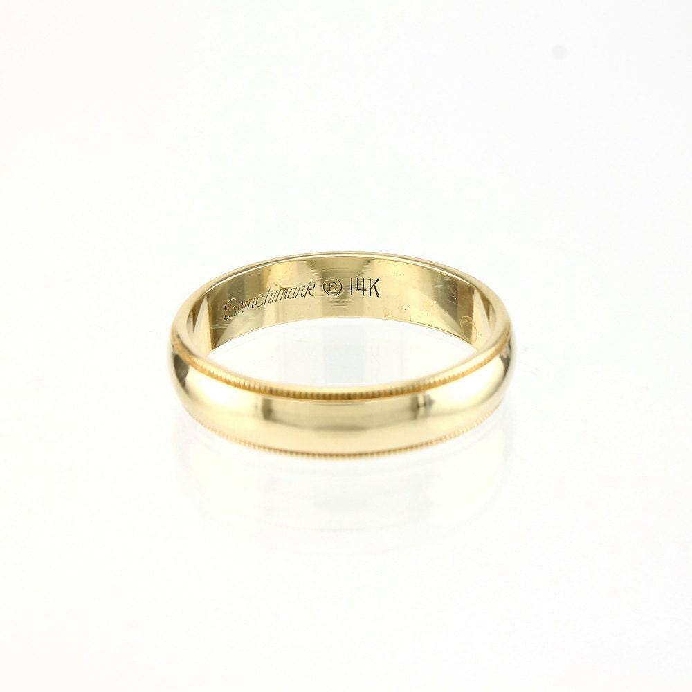Mens 14K Gold Wedding Ring Band Mans By VintageMasonry On Etsy