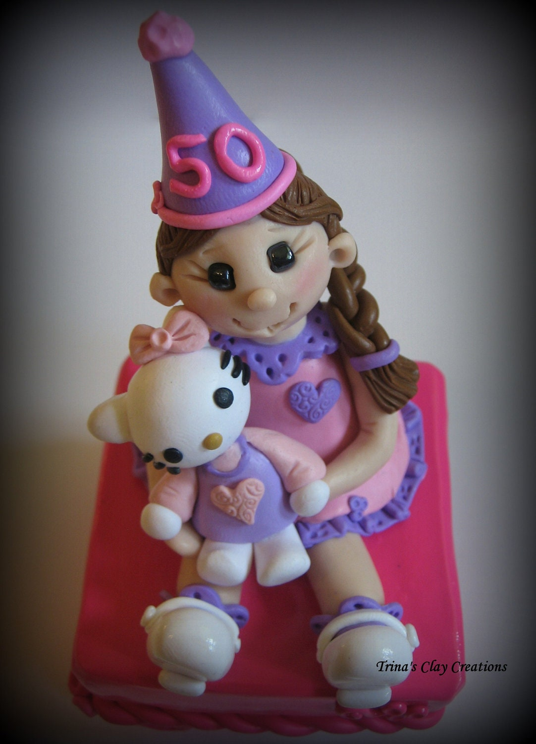 Little Girl Trinket Box - Birthday Topper - Polymer Clay - trinasclaycreations