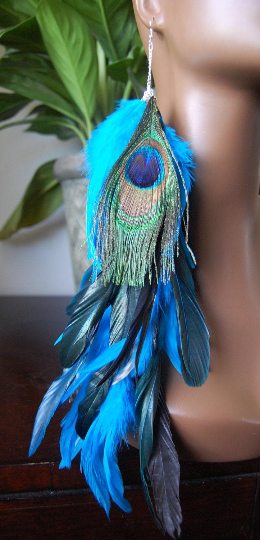 Turquoise Peacock Long Single Feather Earring by MarcieRoxx