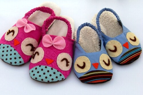 Warm Slipper for Sleepwear PDF INSTANT DOWNLOAD Sewing Pattern Owls & Chicks Children and Toddler Pattern - sweetpeakidspatterns