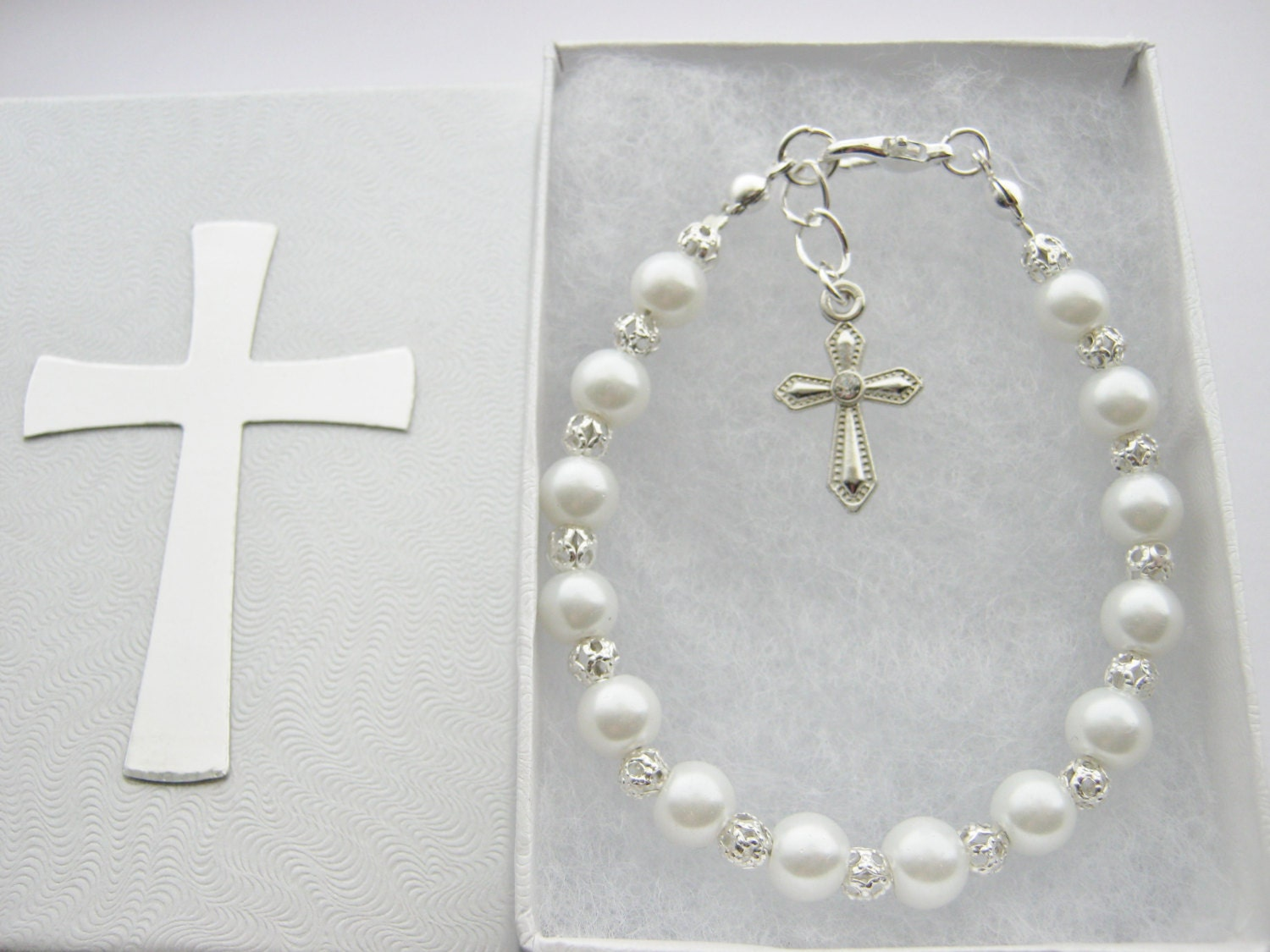 First Communion Bracelet with White Pearl Beads Cross Chalice Angel Angel Wings Charm Confirmation Jewelry Girls Religious Gifts