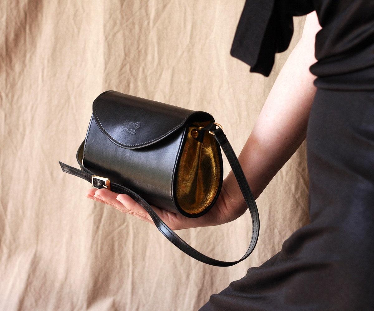 Black and gold leather purse, small evening bag,  leather handbag, Dalfia - Dalfia