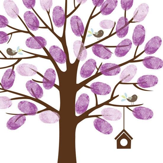 fingerprint tree wedding baby shower tree guestbook pdf custom