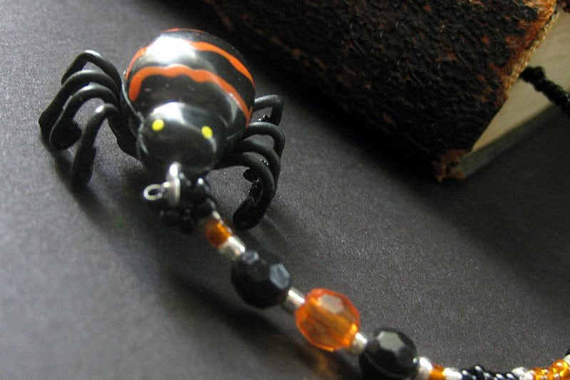 Halloween Bookmark Beaded with Creepy Spider