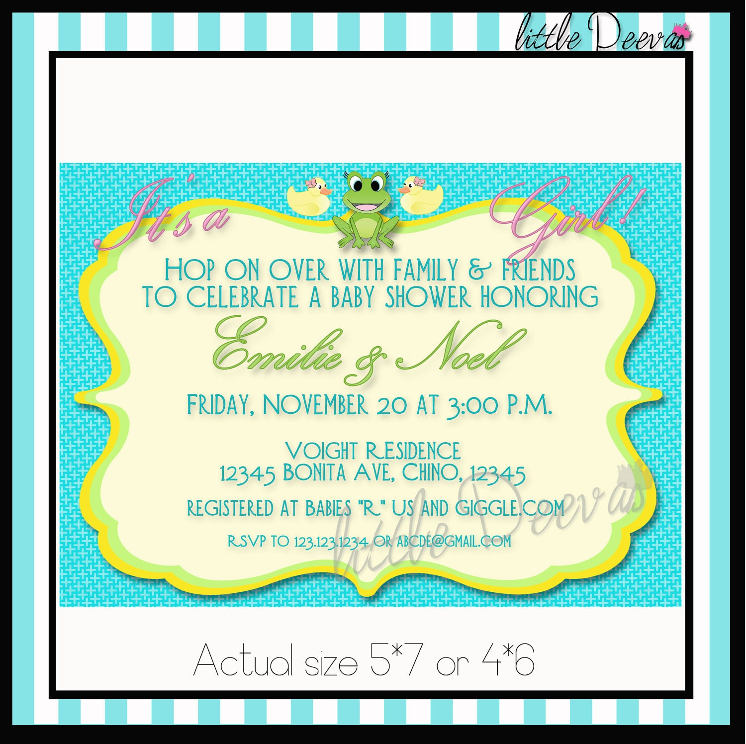 baby shower invitation boy or girl custom wording and color invite
