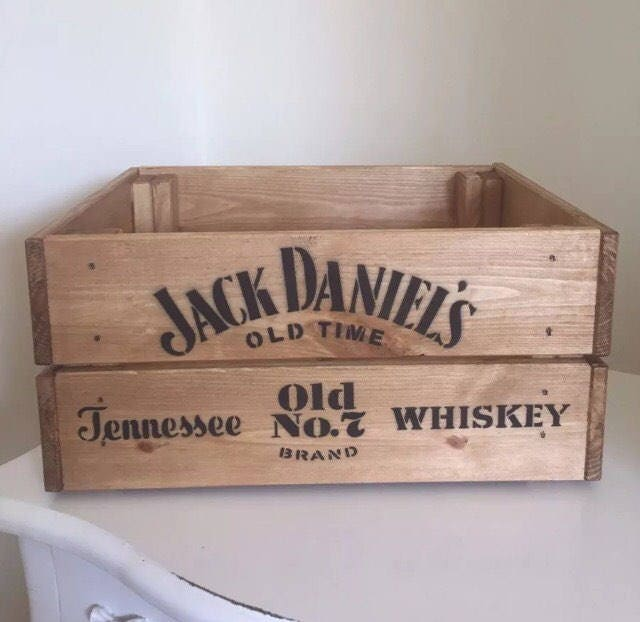 Jack Daniels Old Time Tennesse Whiskey Vintage Style Wooden Wine Beer Champagne Crate Box Home Garden Gift Man Cave