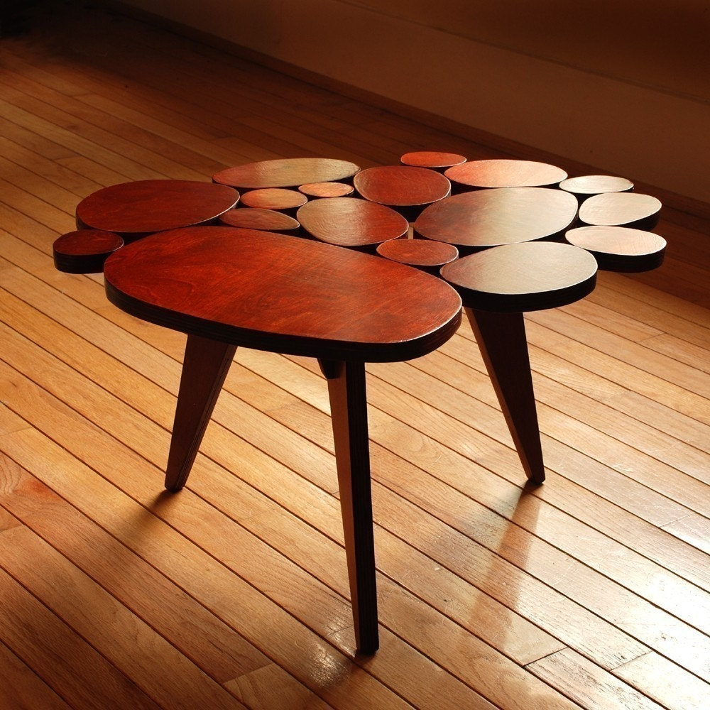 Modern Circles Coffee Table Small Maple Plywood