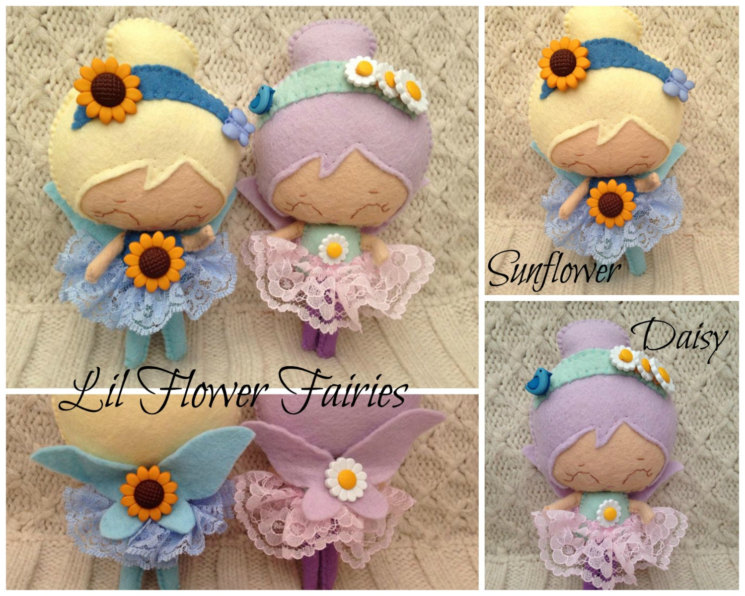 Felt Flower Fairy  Hand made To Order Collectable Doll  Lil Flower Fairies