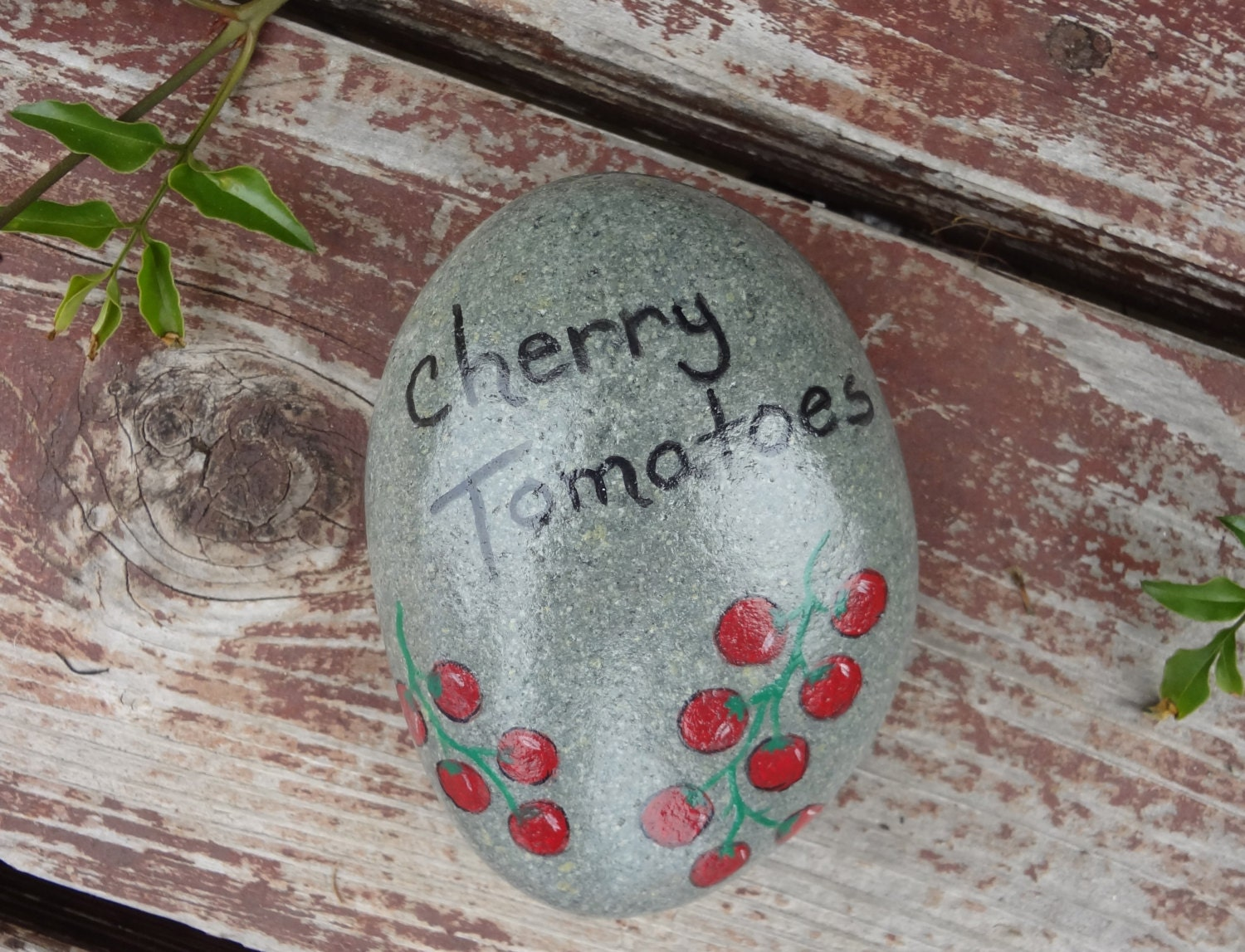 Cherry tomatoes hand painted stone veggie by overbrookstone - Hand painted garden stones ...