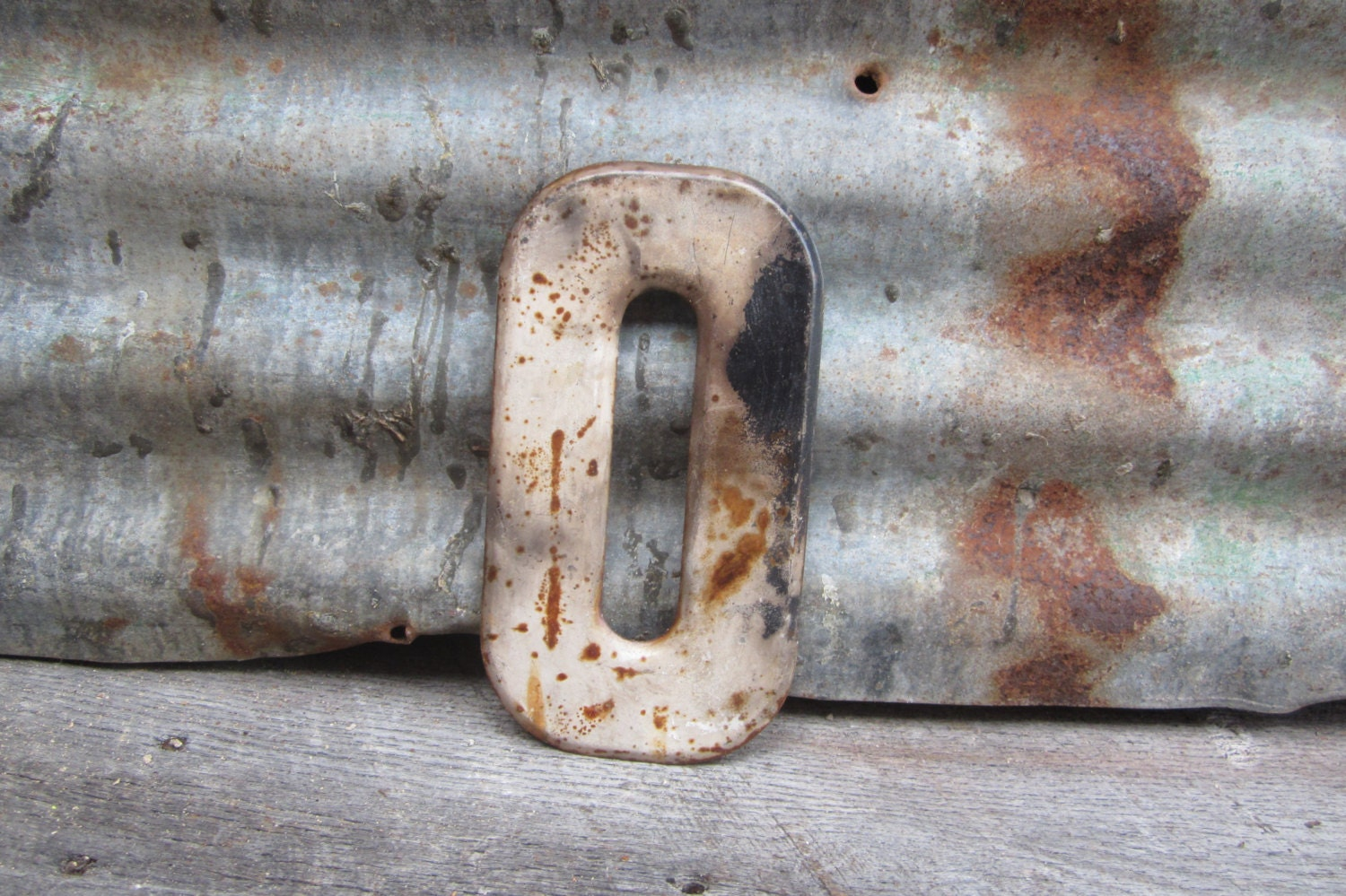 Vintage Metal Chippy Letter O Sign Aged & Rusted Old Marquee Metal Letter Rusty - TheOldTimeJunkShop