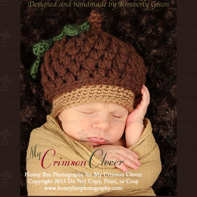 Acorn Cap Hat Baby Hat Pattern Crochet by MyCrimsonClover ...