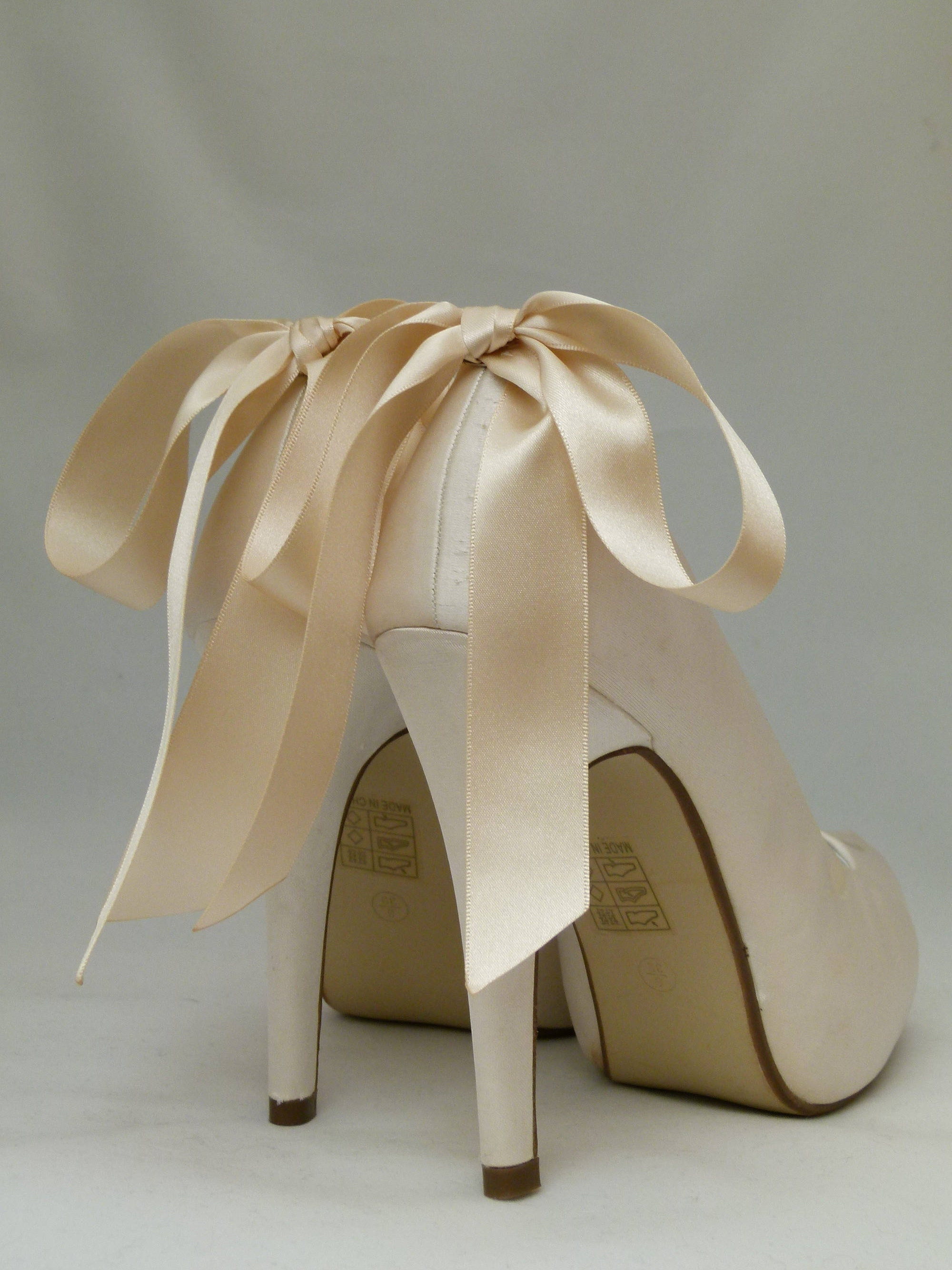 Cream Shoe Clips Satin Bows For Bridal Shoes Bridal Shoe Clips Bridal Accessory by SassyxBridal