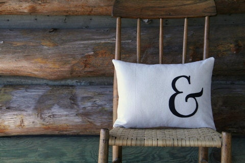 """ampersand pillow cover / typography font pillow / black / appliqued / 16"""" x 16"""" / industrial urban farmhouse / fall decor"""