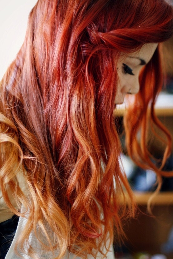 Red Orange Fire Ombre Hair Extensions (U CHOOSE LENGTH) Layered Cosplay Lolita Anime Manic Panic - CustomHairExtensions