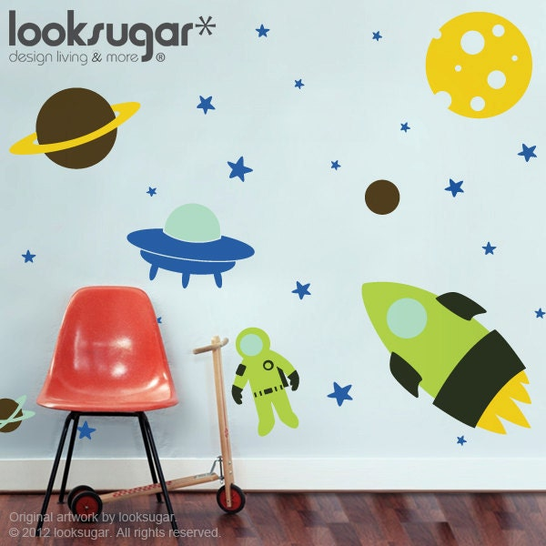 Outer Space Wall Decal - Nursery Wall Decals - Rocket Wall Decal ...
