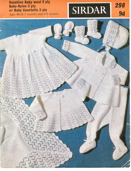 Sirdar 298 Vintage Knitting Pattern Baby Layette - Eight Pieces for
