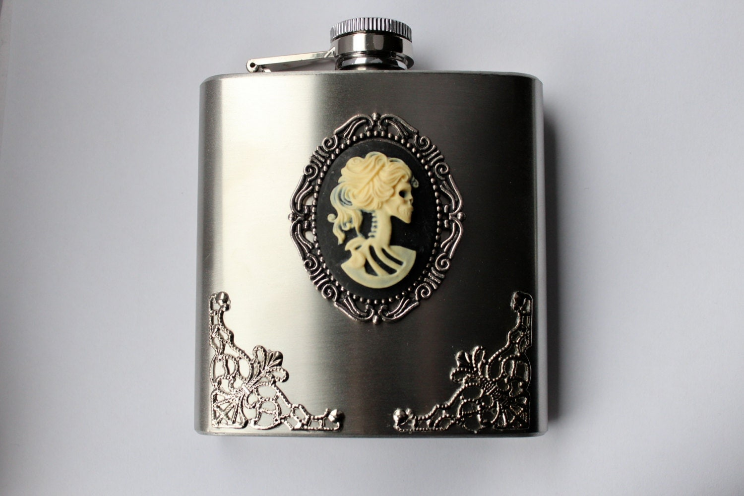 Day of the Dead Lolita Skeleton Girl Cameo Filigree Gothic Stainless Steel Flask with Funnel - DahliaDeranged