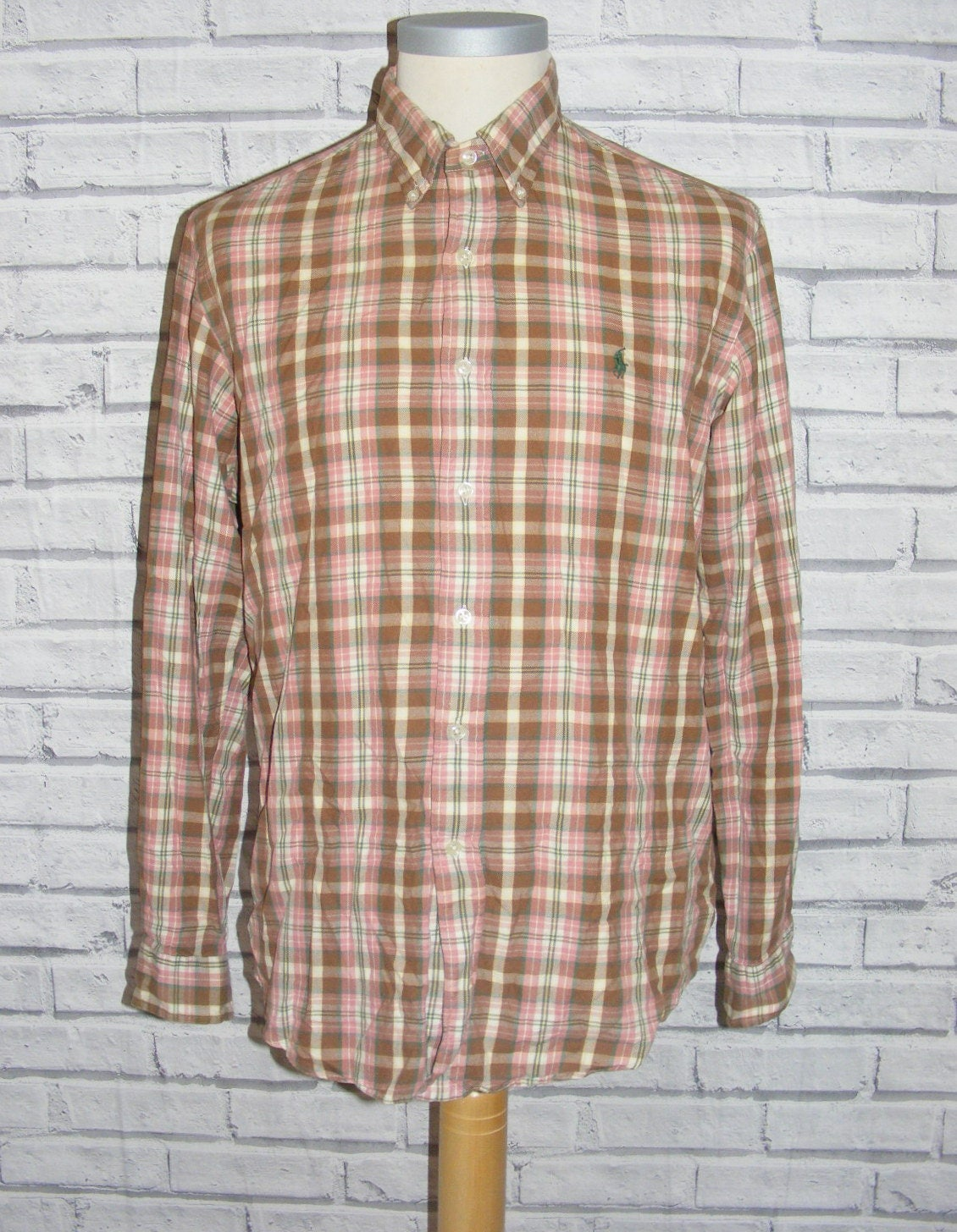 Size L 42 vintage 90s Ralph Lauren button down lslv shirt beige check (HZ11)