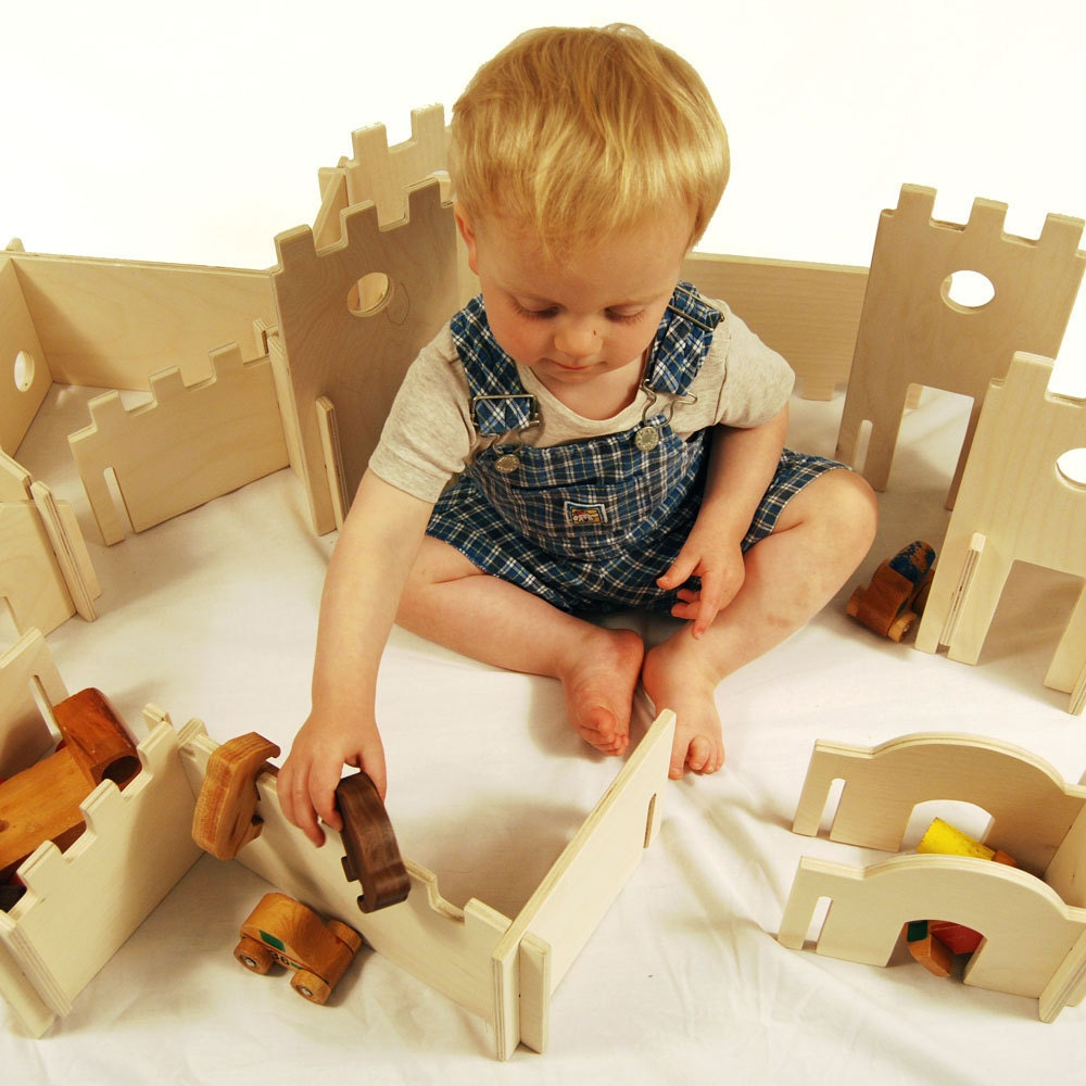 Manzanita Classic Building Set, modular building walls, Montessori inspired, castle themed building toy for kids ages 2 -12
