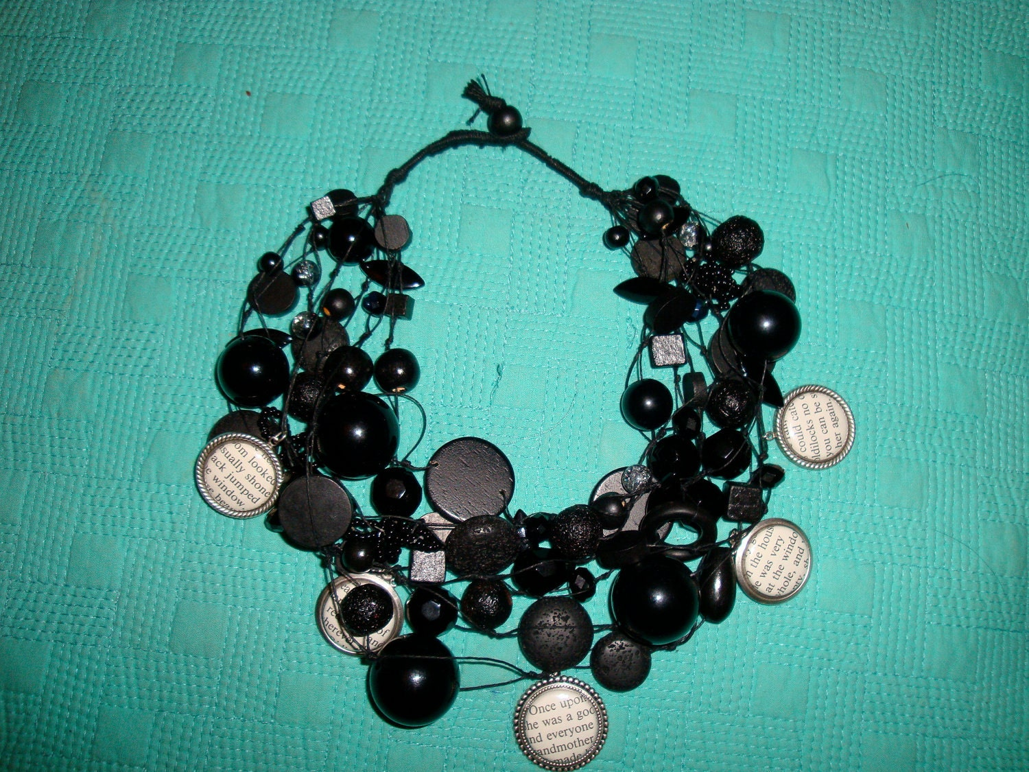 Handmade Bead  statement necklace with charms ( Black, cream, cameos) - creativedesignsstore