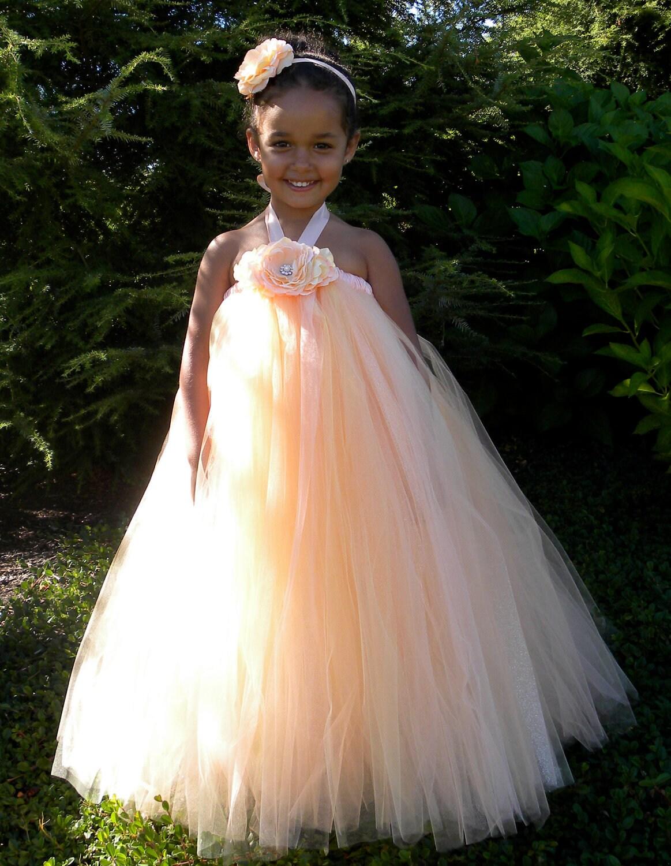 Flower Girl Tutu Dress Peach Melon by Cutiepatootiedesignz