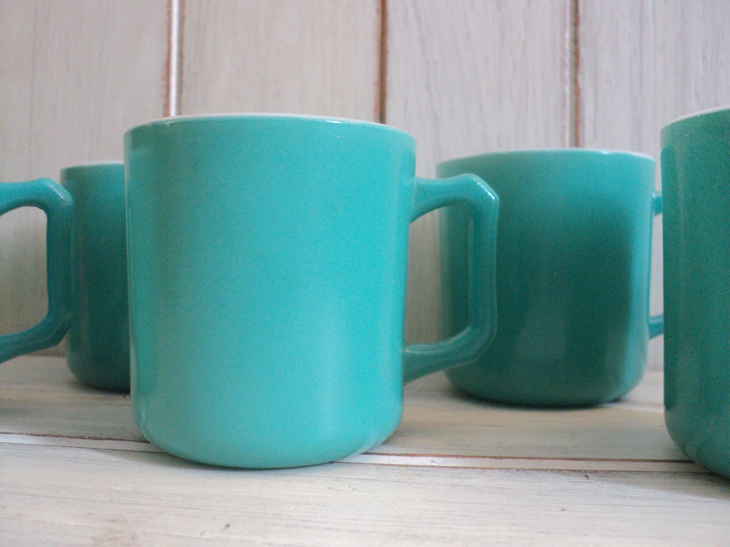 set of 6 vintage Hazel-Atlas fired-on teal aqua coffee mugs 1950s