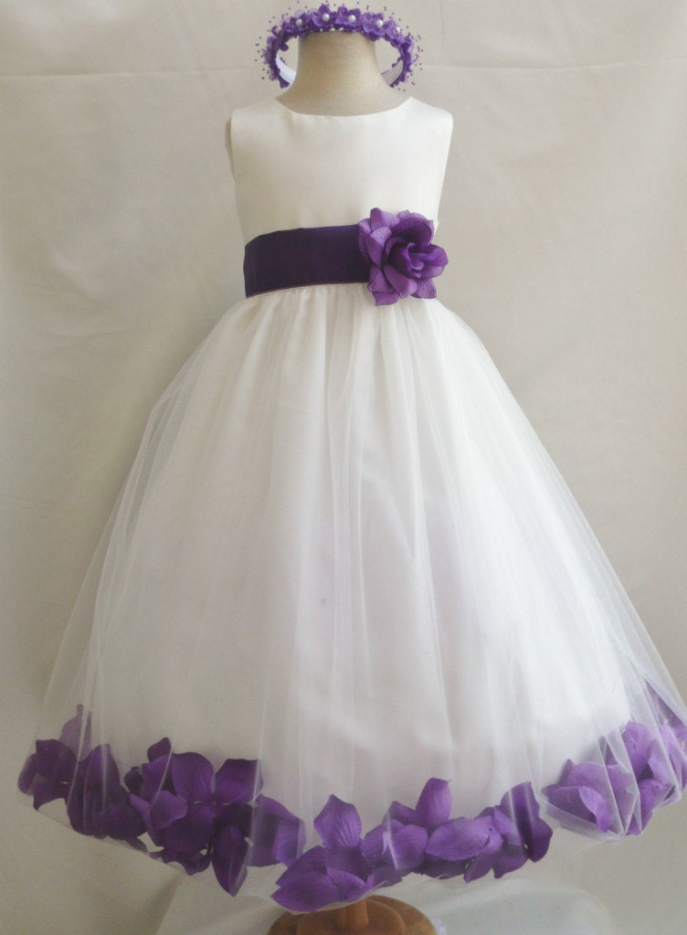 Purple And Ivory Wedding Dresses : Flower girl dresses ivory with purple rose by nollacollection