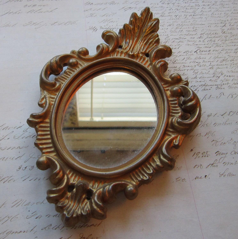 Vintage rococo style mirror baroque gold frame by theartfloozy for Small baroque mirror