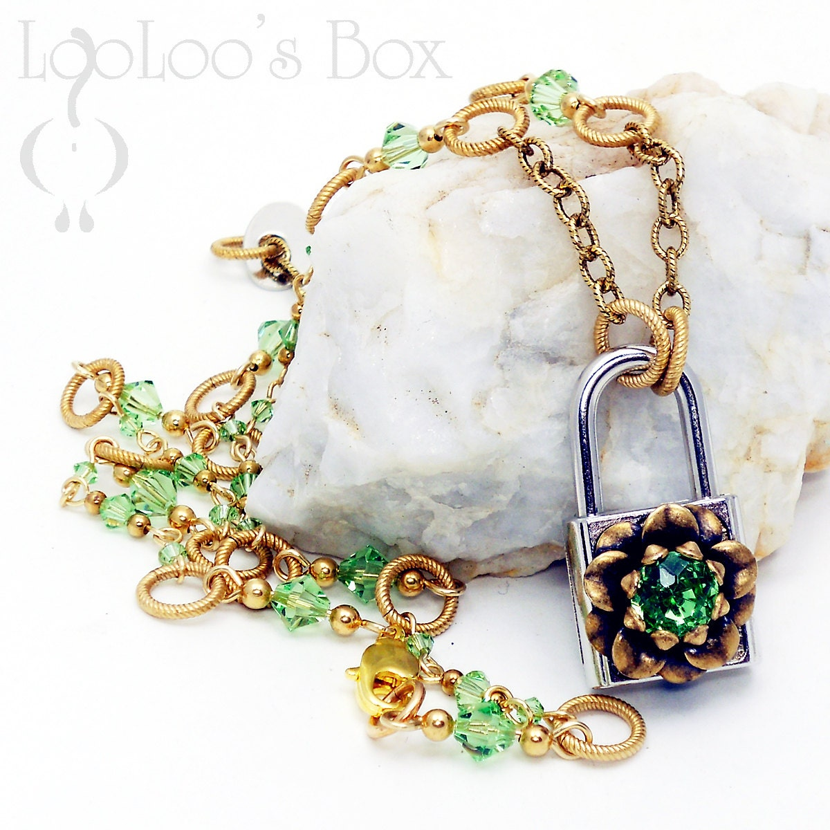 LOCK & KEY Floral Padlock Necklace Brass Ox Flower Peridot Crystal Rhinestone Victorian Steampunk N371 by Robin Delargy LooLoos Box - LooLoosBox