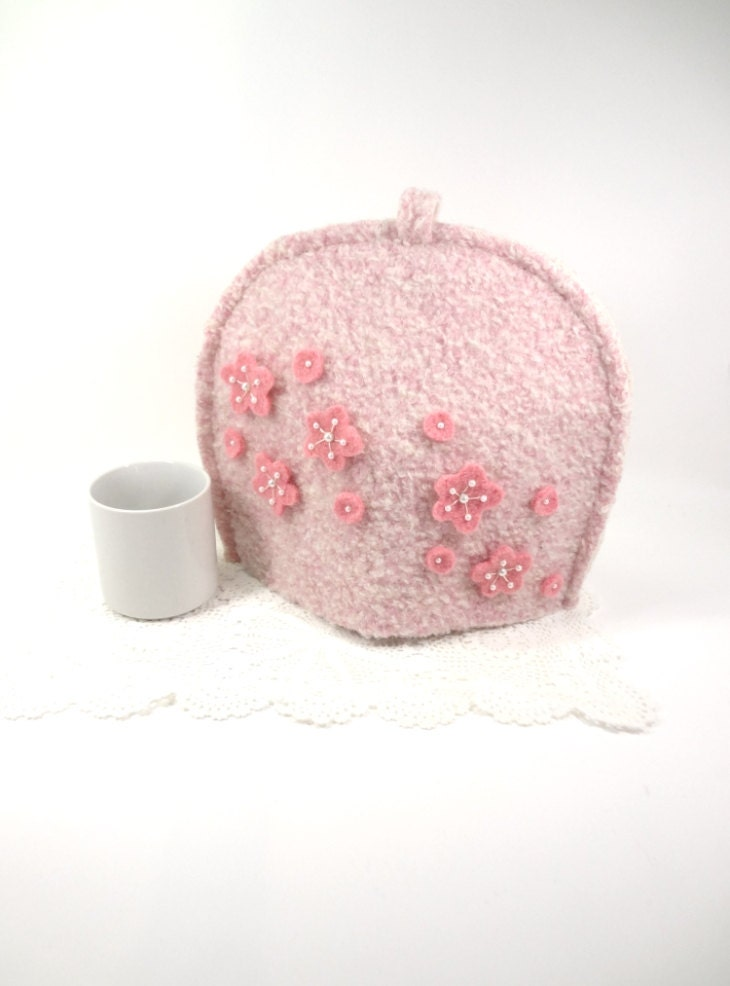 Pink vintage wool tea pot cover Valentines gift idea Felted wool tea cosy Girly pink kitchen - HereAtSmallGoods