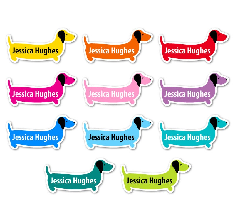 45 Personalised Sausage Dog Shaped Waterproof Vinyl Stick On School Name Labels   Dishwasher and Microwave Safe