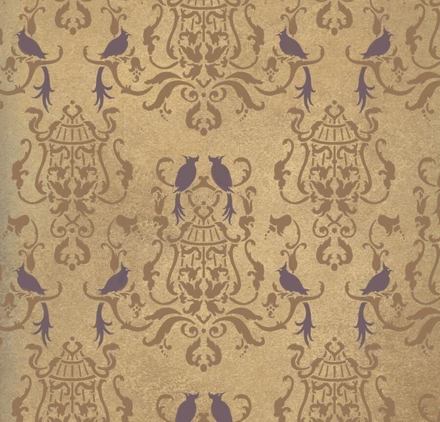 Damask stencil Birds Of Paradise Wall by CuttingEdgeStencils