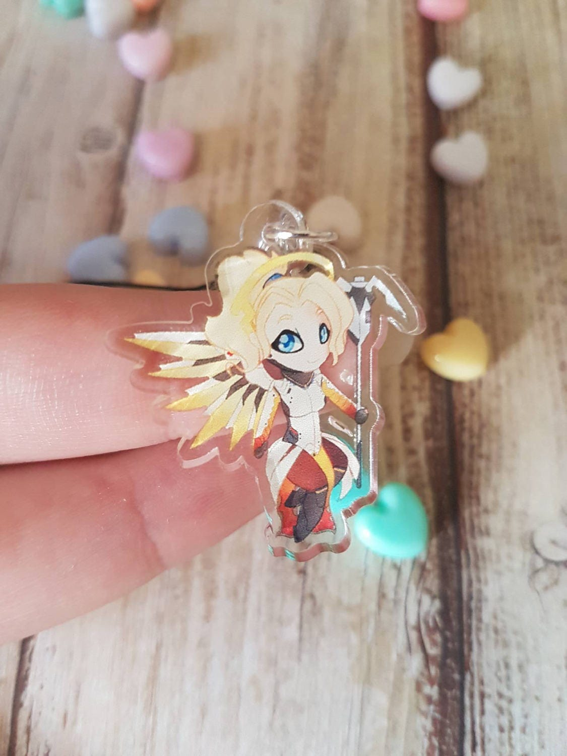 Mercy Overwatch Game Fan Art Clear 1.5  Acrylic Charm with Phone Strap Gift Nerd Geek Video Game
