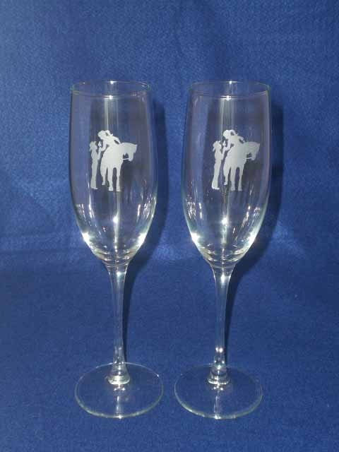 ... Cowboy Wedding Toasting Glasses Flutes Personalized Engraved FREE