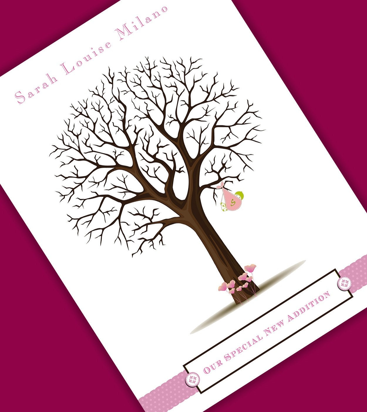 baby gift shower signature tree print personalized fingerprint tree