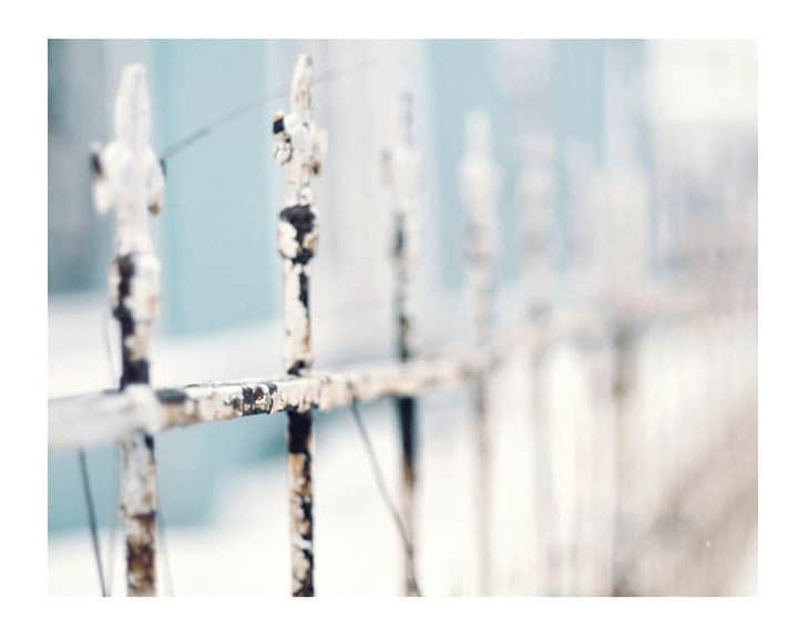 Fence Photograph,  Misty Fence, 5x7 Print, Shabby Chic, Landscape Photo, Macro, Fine Art Photography, Pale Blue - ellemoss