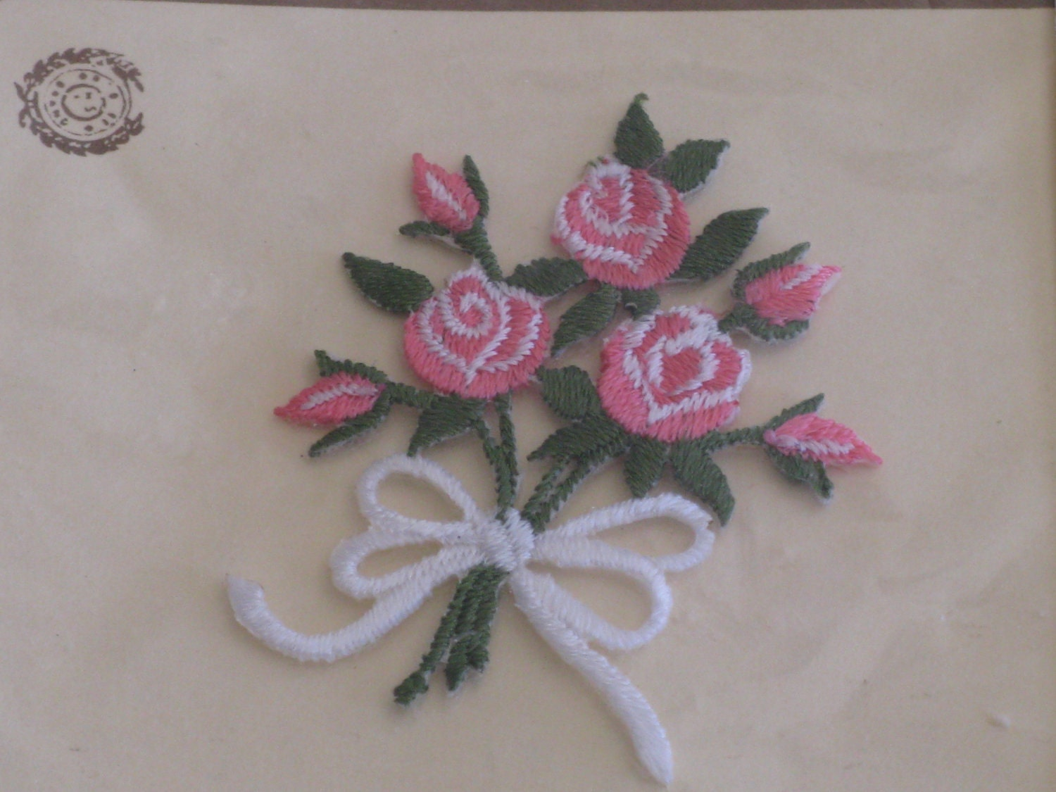 Vintage applique embroidery pink rose bouquet iron on by