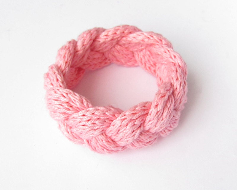 Pink rose Knit Braided Weaved Crocheted Textile Fiber Yarn Bracelet Eco Friendly - FunnyThread