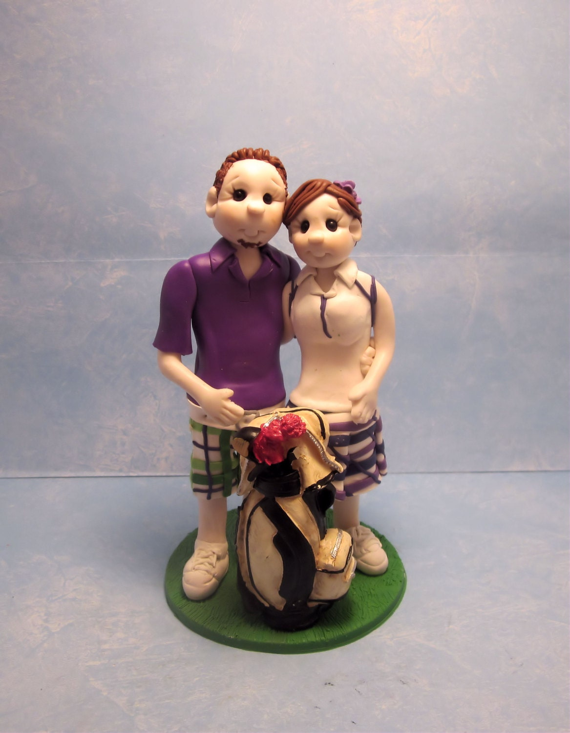 Custom Golf Themed Wedding Cake Topper by lynnslittlecreations