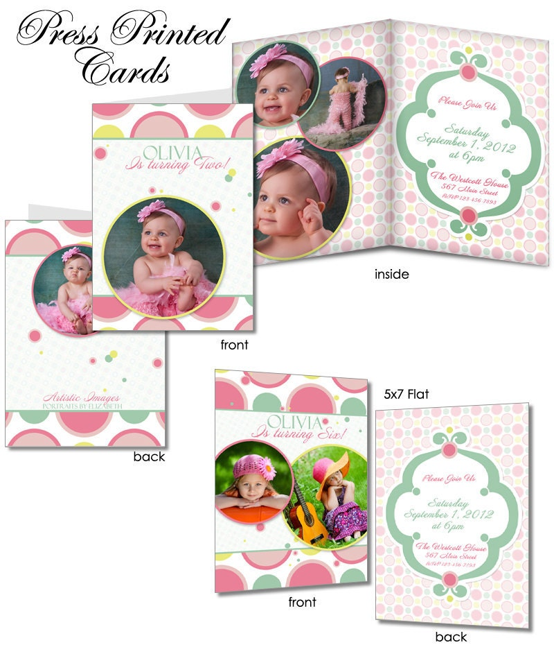 Birthday Invitation Templates - BUBBLE GUM PINK - 5x7 Flat & Folded ...