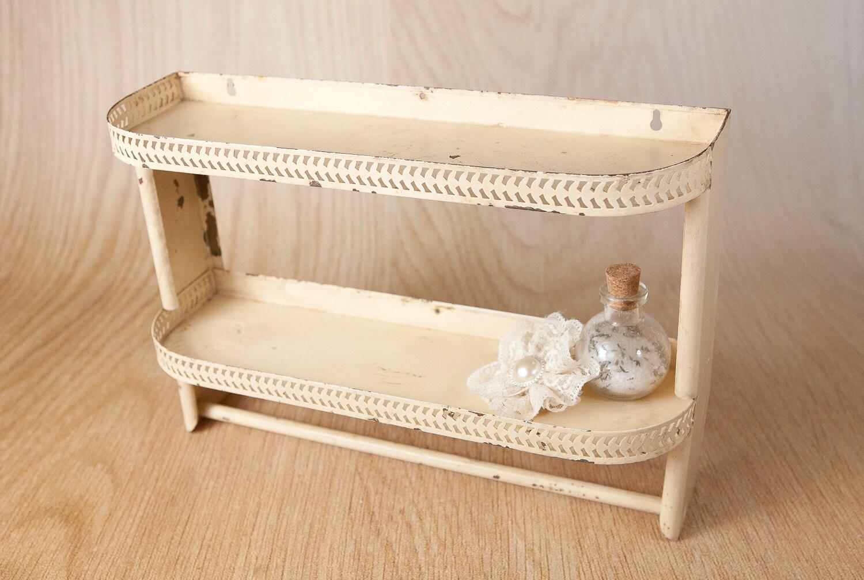 metal wall shelf 2 tier w towel bar by lazydaysrelics. Black Bedroom Furniture Sets. Home Design Ideas