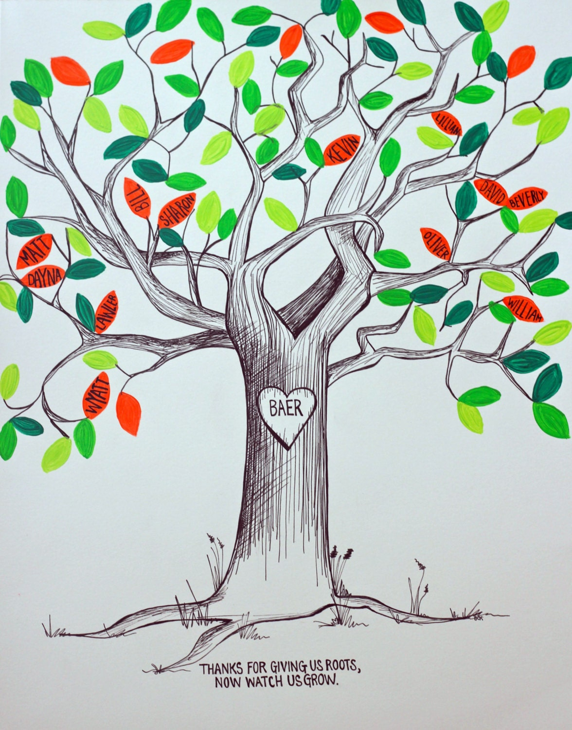 Hand Drawn Family Tree or Guest Book with Hand Painted Acrylic Leaves