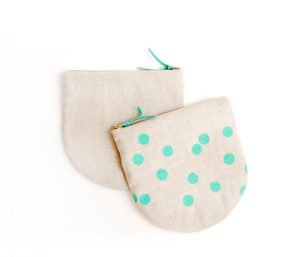Teal Polka Dot Linen Pouch - Indigobirddesign