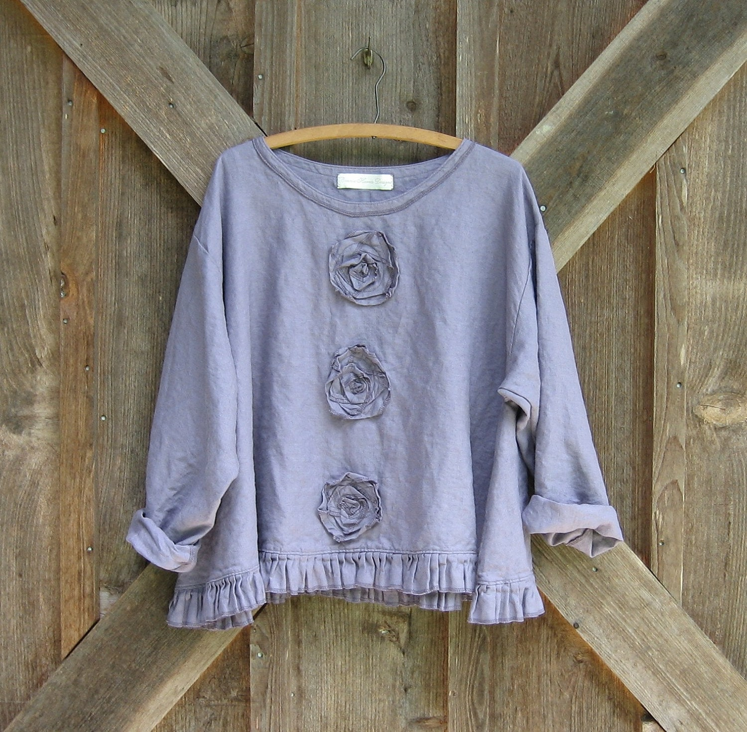 linen top Romance flare design in thistle dusty lavender with roses