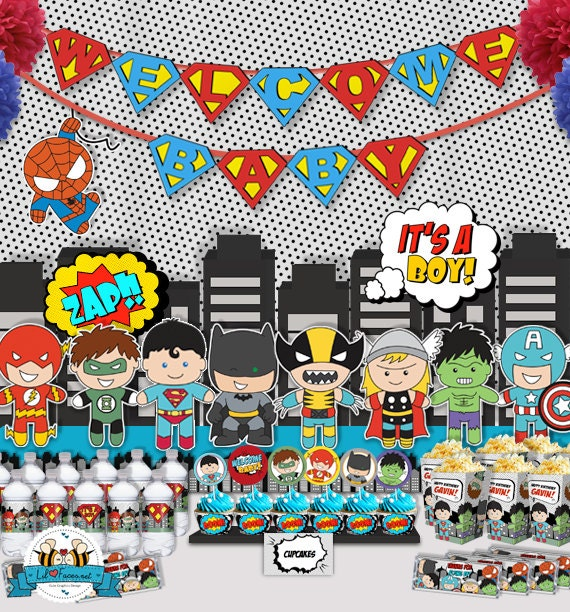 superhero popart baby shower party package personalized and editable