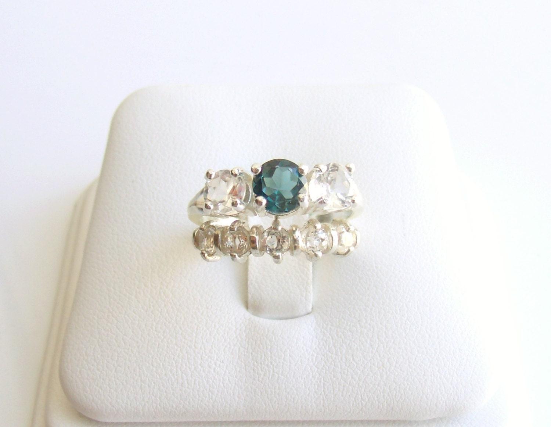 wedding ring set blue topaz sterling by katdesignsnyc